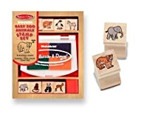 Baby Zoo Animals Themed Wooden Stamp Set + FREE Melissa & Doug Scratch Art Mini-Pad Bundle [16384] [並行輸入品]