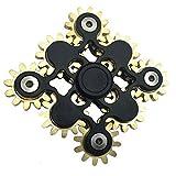 JP-KIBOUハンドスピナー  9個の歯車が連動して回転する 指スピナー  純銅+ステンレス (ブラック)