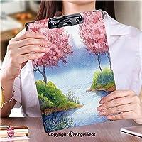 クリップボード クリップファイル 屋外スケッチポータブルスケッチクリップ春の水彩風景開花木湖ストック画像 (1個)