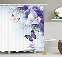 (180cm W By 180cm L, Multi 5) - Ambesonne Butterflies Decoration Collection, Butterflies Sailing on Sea with Major Colourful Iris Flowers Fairy Magical Home Decor, Polyester Fabric Bathroom Shower Curtain Set with Hooks, Multi