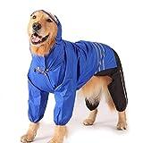 Teshony ペット用品 レインコート 中型犬 大型犬向け ポンチョ お洒落 着せやすいカッパ リード穴あり 雨の日 カッパ 犬服 帽子 上下セット お出かけ (XL)