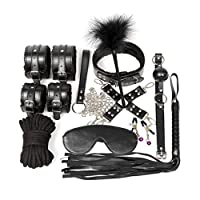 SLH セクシーな豪華な10ピースセット大人手錠を結ぶために結ばれたグリーンPUレザースーツ代替刺激疲労を軽減する (Color : Black)
