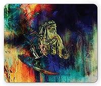 部族の長方形のマウスパッド、雑多な効果を持つ職長の雄牛の汚れた未来的なデザイン、滑り止めラバーバッキングマウスパッド、多色