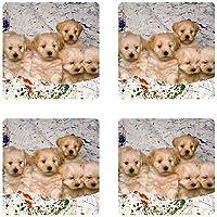 かわいい子犬Litterゴムスクエアコースターセット( 4パック) Great Gift Idea