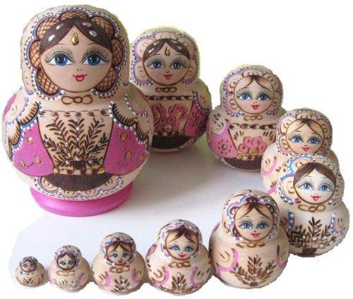 綺麗なマトリョーシカ人形  置物 ロシア民芸  10個組 ピンク M01