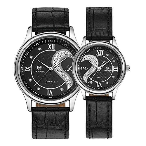 ロマンチックカップルウォッチ、本革ベルトハート型デザインペア腕時計ゴールデンD-102 …
