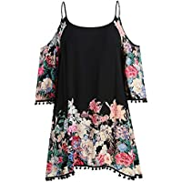 Bohao Plus Size Fat mm Large Size Women's Loose Sling Shoulder-Exposed Printed Dress