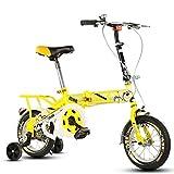 ALUP- 子供の折りたたみ自転車、12-14-16-20インチの男子学生自転車6-8-10-12歳の乳母車 (色 : Yellow-B, サイズ さいず : 20 inch)