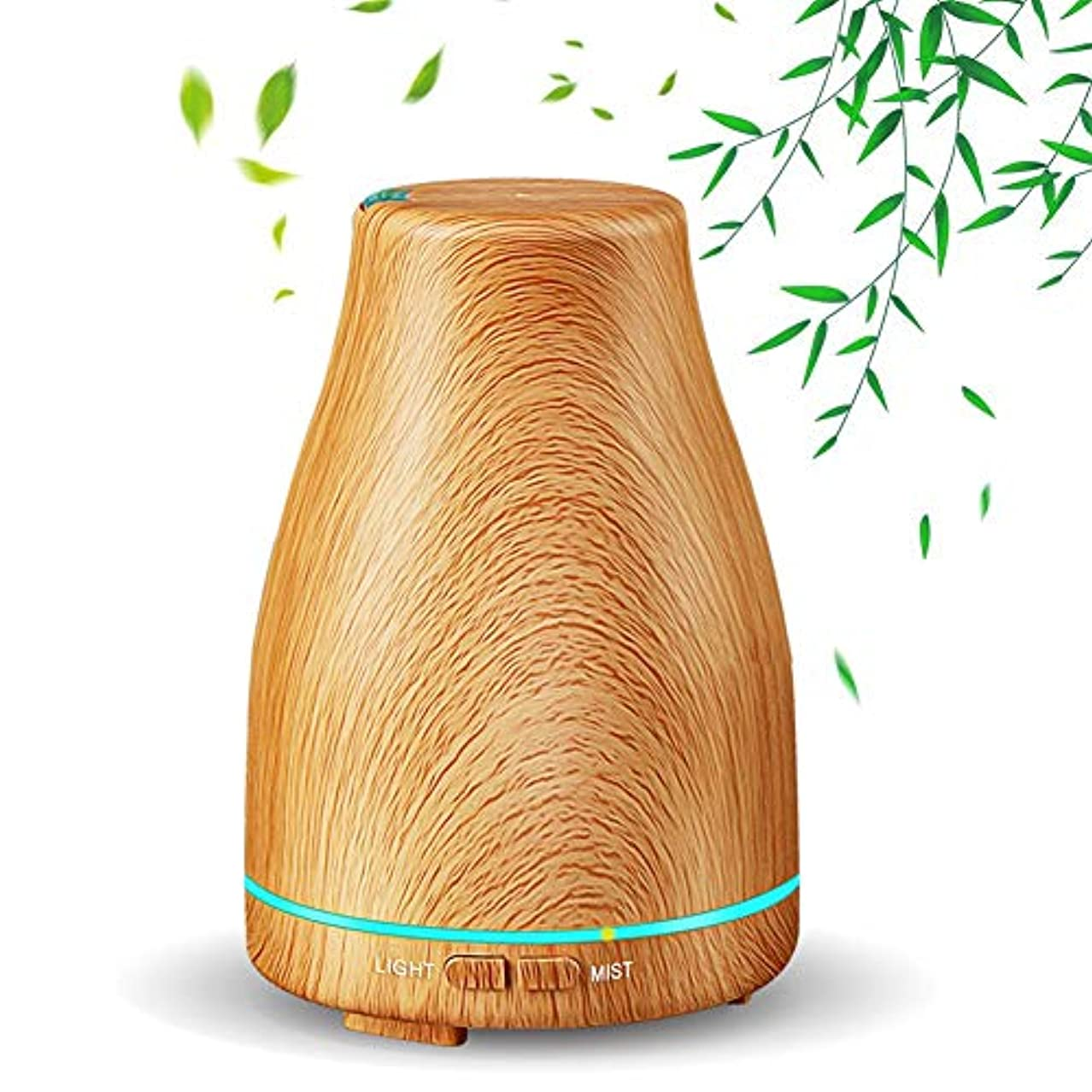 どれかスイングクラッチ130ミリリットルミニエッセンシャルオイルディフューザー、木目超音波アロマセラピーフレグランスオイルディフューザー蒸発器加湿器、水なし自動閉鎖、7色フレグランスランプ、ホームオフィス用,Lightwoodgrain