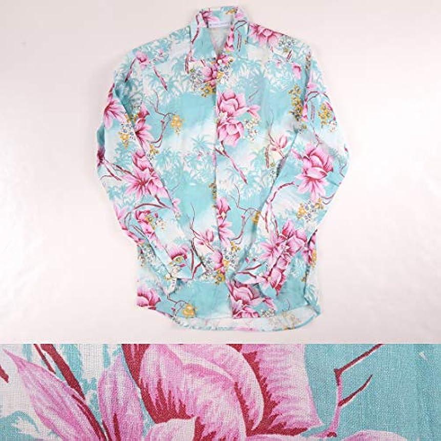 リム冷ややかな野なETRO リネン100% 総柄 長袖シャツ 191096 blue x pink XS 17690【S17691】 エトロ [並行輸入品]