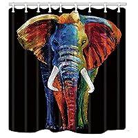 野生動物アフリカのサファリの装飾、黒いバスカーテンでカラフルな自由ho放に生きる動物のしぶき、バスルームのポリエステル生地動物シャワーカーテン、シャワーカーテンのフックが含まれています 180X180 CM