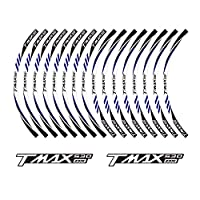 PRO-KODASKIN TMAX 530DX オートバイホイールデカール12リムステッカーセット TMAX 530 DX用 ブラック K-TP-00190-TM-1