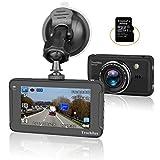 車ダッシュカム、フルHD 1080p 3インチ画面DVRカメラTrochilus with 32GB SDカード、170度広角レンズ、ナイトビジョン、WDR、Gセンサーループ録画、駐車場ガード車、Pryツール含ま