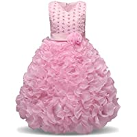 NNJXD Girl V-Neck Sleeveless Flower Party Princess Wavy Tutu Dress