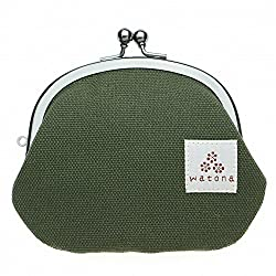 watona 帆布がま口 3.3寸丸形小銭入れ (オリーブグリーン)