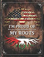 Im Proud of My Roots: Vintage Palestine2 and American Flag Personalized Gift for Coworker Friend  Lightly Lined Pages Daily Journal Diary Notepad