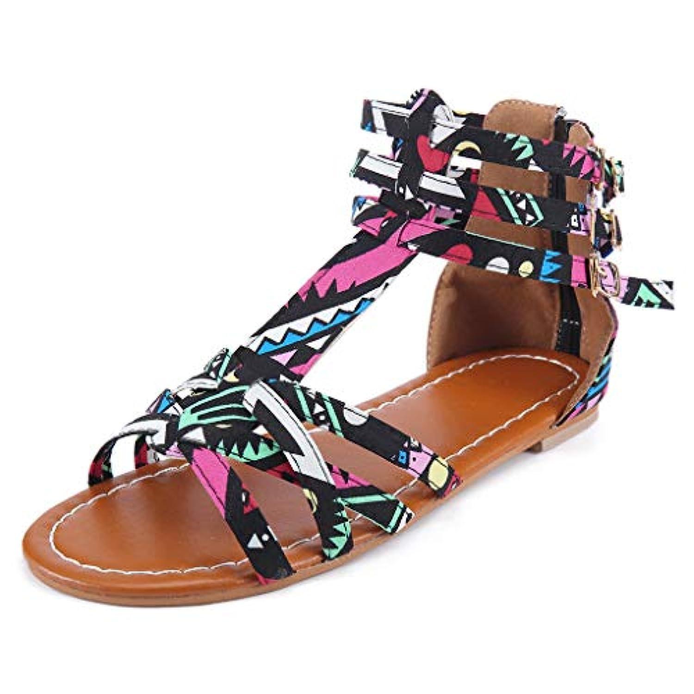 レディース サンダル Tongdaxinxi 女性のナショナルのウィンド サンダル ボヘミアンスタイルのサンダル 大型コントラスト サンダル 夏 歩きやすい 滑り止め フラットヒール ビーズ かわいい 美脚 ボヘミアン風