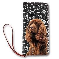 Sussex Spaniel Dog Phone Case サセックス スパニエル 犬顔 レディース おしゃれ かわいい 長 財布 ウォレット 札入れ 大容量 二つ折り 腕帯付き ファスナー 革 8枚カード 収納 犬愛好家 プレゼント [並行輸入品]