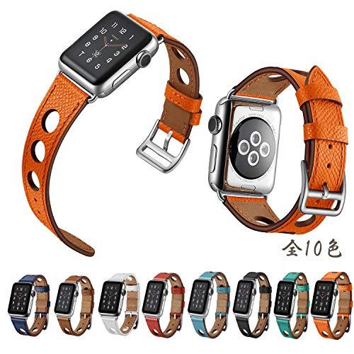【万屋】Apple Watch バンド 全10色 Apple Watch Series 3 / Series 2 / Series 1 に向け人気レザーバンド 38mm & 42mm 対応 イタリア高級牛革レザーバンド 人気手作りのカーフレザー製バンド (Apple Watch 42cm, オレンジ色)