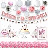 Party Favors Supplies ベビーシャワーデコレーション It Is a Girl バナーペーパーランタン フラワーポンポン バルーン 女の子用 (ピンク ホワイト グレー 25個パック)