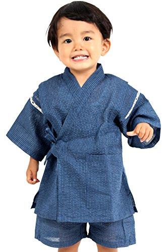 甚平 しじら織り 麻混 巾着付き 男の子 キッズ 子供服 [ブルー/130サイズ]