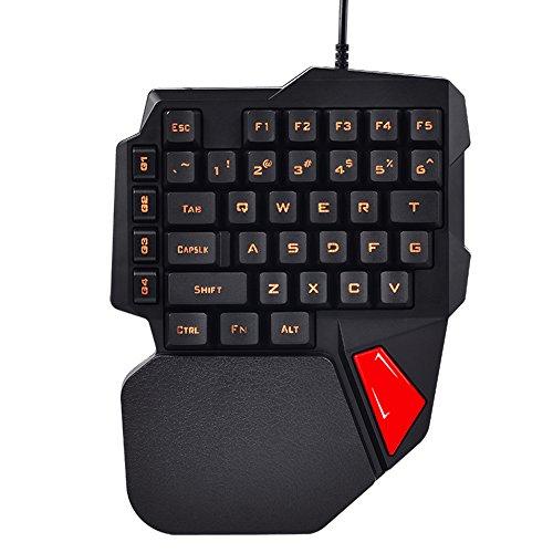 FELiCON®ゲーミングキーボードK108 片手キーボード ゲーミングキーパッド 左手 USBキーボード LED ブラック