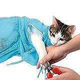 MKUTO 猫用 みのむし袋 おちつくネット シャンプー お風呂 爪切り 耳掃除 グルーミング 暴れない (ブルー)