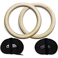 ValueHall 木製体操吊り輪 オリンピック体操リング 調節可能な長いバックルのストラップ - 自宅のジム ? フィットネスのためのトレーニング - あなたの筋肉のアップ、プルアップ ? サスペンション筋力トレーニングに最適 ストレス解消 最大荷重:250キロ V7043-1