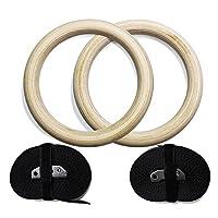 ValueHall 木製体操吊り輪 オリンピック体操リング 調節可能な長いバックルのストラップ - 自宅のジム ・ フィットネスのためのトレーニング - あなたの筋肉のアップ、プルアップ ・ サスペンション筋力トレーニングに最適 ストレス解消 最大荷重:250キロ V7043-1