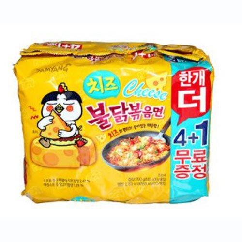 ブルダック炒め麺チーズ 140g ×4袋 +1袋 健康生活 オールネット [並行輸入品]