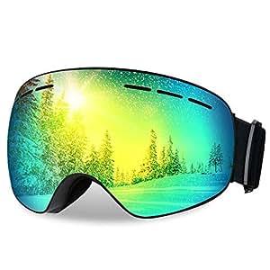 Patech スノーゴーグル スキーボード 99%UVカット 曇り防止 球面レンズ 防風/防雪/防塵 山登り/スキーなど用 男女兼用 (グレー)