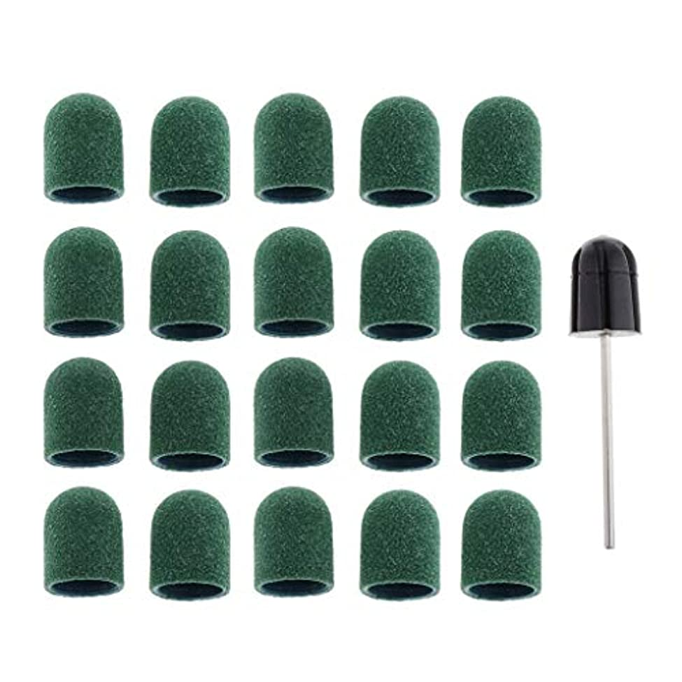 娘通信網代わりのPerfeclan 約20個 マニキュア DIY ネイルサンディングキャップ ドレルビット付き ネイルアートツールセット 全5色 - 緑