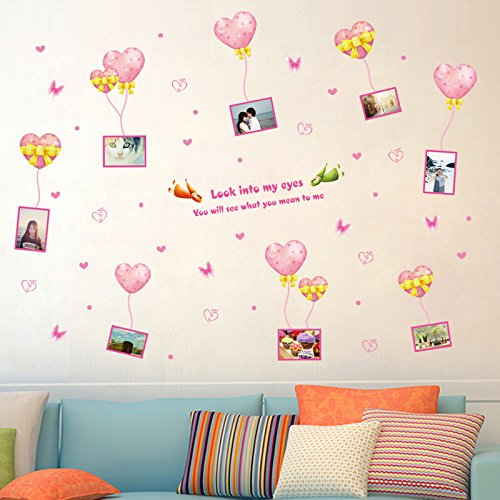 GOUZI Love the balloon frame marriage room photo romantic and cozy bed, love balloon frame, Large Removable wall sticker For Bedroom Living Room Background Wall Bathroom Study Barber Shop