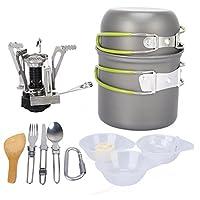 アウトドアキャンプ調理器具、1〜2人用キャンプハイキングバックパッキングストーブポットコンビネーションポータブルフィールド食器用ピクニックバーベキュー料理