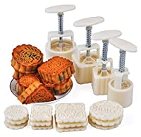 LMS Party Moon Cake Mold - 12 Stamps and 4 Sets - Mid Autumn Festival DIY Decoration - 50g/100g - White by Pulsar LMS