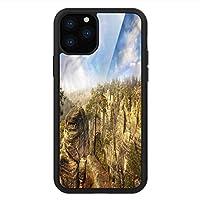 iPhone 11 Pro Max 用 強化ガラスケース クリア 薄型 耐衝撃 黒 カバーケース 自然 チェコの公園 iPhone 11 Pro 2019用 iPhone11ケース用