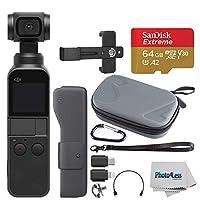 DJI Osmo ポケットハンドヘルド 3軸ジンバルスタビライザー & 4Kカメラ + 64GB エクストリームmicroSDXCメモリーカード+ ハードシェルケース+ スマートフォンホルダー+ Photo4Lessクリーニングクロス - デラックスアクセサリーバンドル