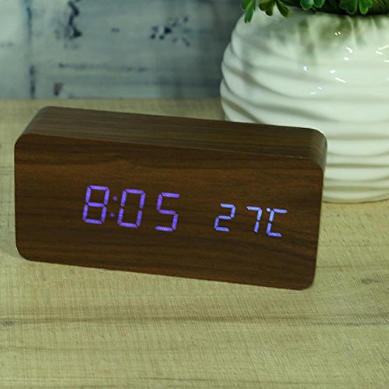 置き時計 目覚し時計 デジタル時計 おしゃれ 木目調 LED アラーム時計 卓上 アラーム 日付 温度 シンプル インテリア リビング 新築祝い 結婚祝い ギフト 贈り物 Macrorunjp