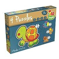 Playlab - 4 in 1 Konturen-Puzzle - Haustiere: 2/3/4/5 Teile