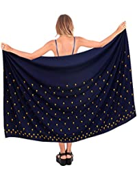 La LeelaビスコースレーヨンPalm Tree Navyblue Sarong Cover up Wrap 88 X 39インチ