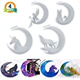 LET'S RESIN Crescents Mold, Epoxy Resin Molds, Silicone Epoxy Molds, Moon Wolf, Moon Cat, Moon Fairy, Moon Unicorn Mold