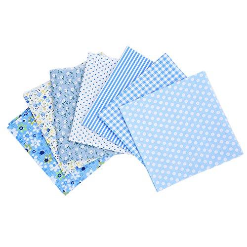 QIN パッチワーク 生地 布地 平織り 綿地布 綿 プリント生地 ブルーシリーズ DIY縫う手作りの布地 7種類セット 選べる2サイズ 25x25cm