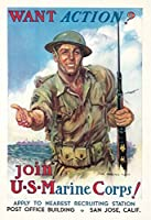 Join the米国海兵隊。ヴィンテージポスター(アーティスト: Flagg、James Montgomery ) USA C。1942 9 x 12 Art Print LANT-65518-9x12