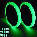 蓄光テープ 高輝度 よく光る 2巻 1cm × 3M 丸型シール 32個 直径 1cm SHiZAK 発光蓄光テープ 停電 電灯スイッチ 階段 出口標識 非常時 防災対策品