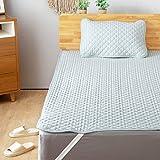 Bedsure 敷きパッド 綿100% コットン リバーシブル シングル ベッドパッド タオル地 夏用 ブルー 洗える サッカー織り 100×205cm 和風