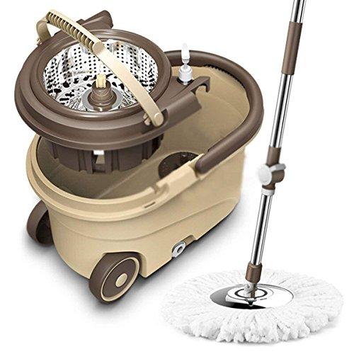 Voidea回転モップ モップ トルネード回転モップ 掃除セット 水切り・洗浄 ダブル回転モップ ペダルなし耐久性バツグン!上下押すだけでモップが回転し、楽に洗浄&脱水!(替えモップ付き)