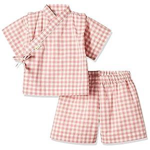 yuga☆甚平 ピンク 80cm オーガニックコットン100% ベビー 服 男の子 女の子 兼用 出産祝い お祭り 浴衣 プレゼント 綿100%