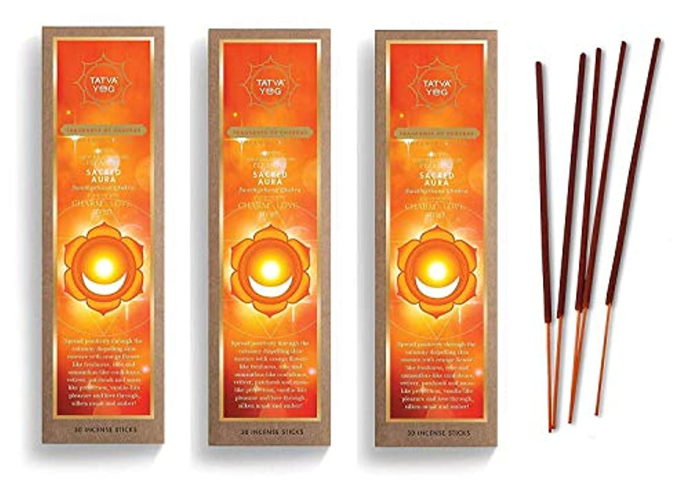 仮装貪欲ファーザーファージュSacred Aura Long Lasting Incense Sticks for Daily Pooja|Festive|Home|Scented Natural Agarbatti for Positive Energy|Good Health & Wealth (Pack of 3 | 30 Sticks Per Pack)