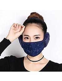 Konomise 秋冬用 レディース マスク 耳カバーつき 一体型 イヤーマフ 耳あて 防寒 防風邪対策 (ネイビー)