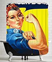 "American Flat Rosie The Riveter 16X20 Shower Curtain by Samantha Ranlet, 71""x 74"" [並行輸入品]"